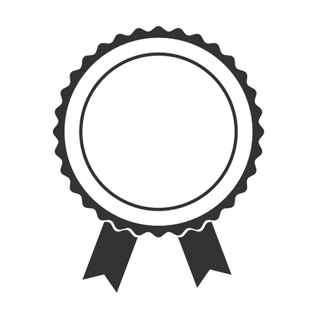 Black Badge With Ribbons or Award flat Icon on white background Foto de archivo