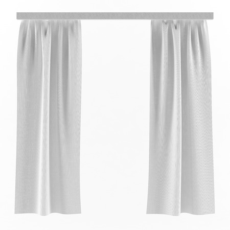 ledge: White isolated linen curtains on a ledge background 3d illustration