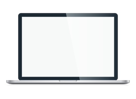 Open Laptop with blank screen isolated on white background