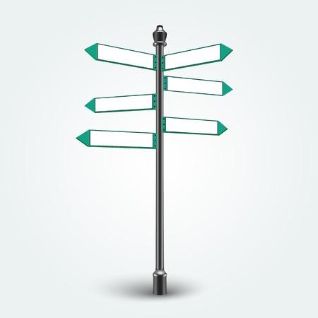 Isolés panneaux de signalisation vides sur fond. Direction Blank Infographie flèches signes de texte copie de l'espace. Banque d'images - 30069337