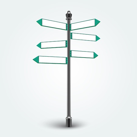 Isolated empty traffic signs on background. Blank Direction Infographic arrows signs for copy space text.  Vector