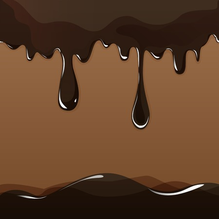 Seamless flowing melted chocolate dripping isolated on brown background. Vector EPS10
