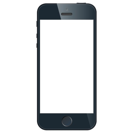 Realistic black mobile phone with blank screen isolated on white background.  Vector