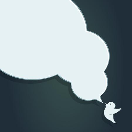 Speech Bubble with Crow. Illustration cartoon bird. Symbol element social dialog talking. Website label card. Little wing animal. Decoration background. Empty isolated sticker. Flat design icon illustration