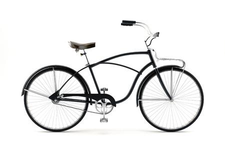 レトロなスタイルの白い背景に分離された 19 世紀自転車のイメージ