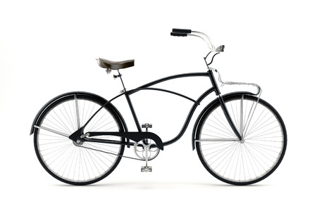 nineteenth: Retro styled image of a nineteenth century bicycle isolated on a white background