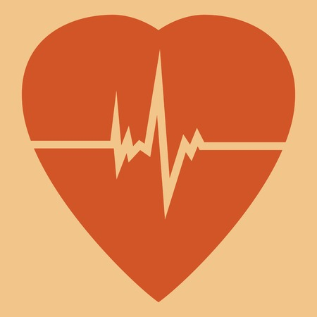 cardioverter: Defibrillator red heart icon isolated on yellow background.