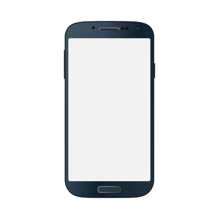 Realistic black mobile phone with blank screen isolated on white background. photo