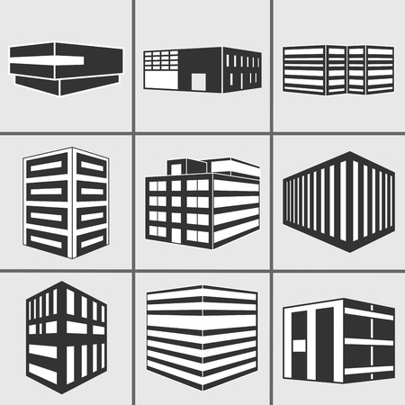 Set of dimensional buildings icons silhouette in grey and black with depicting high-rise commercial office blocks and residential apartments. Vector web sticker 3d symbol isolated on white background.