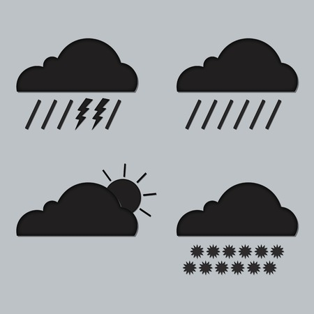 clean environment: Vector abstract concept black cloud on gray background illustration. Set cloudscape. Magic cloudy clean environment. Your creative conceptual presentation for website internet.