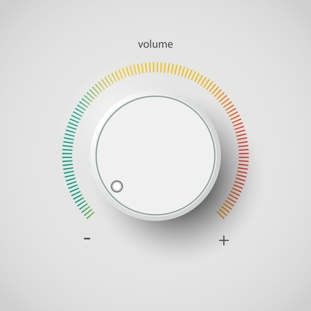 louder: Realistic metal control panel tumbler. Music audio sound volume knob button minimum maximum level. Rotate switch interface stereo tuner isolated on white background. Design element Vector illustration Illustration