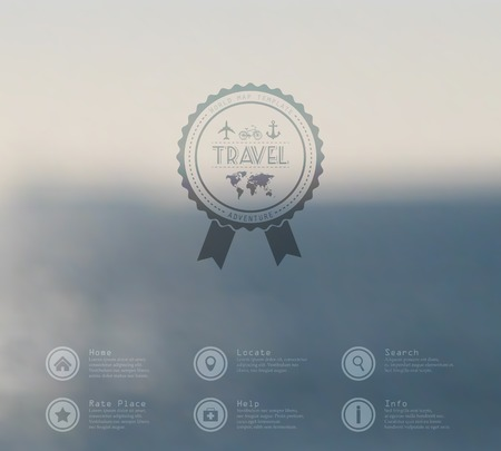 Vector illustration web and mobile phone interface flat template. Travel business corporate website design blur. Minimalistic multifunctional media environment backdrop. Ribbon badge label over sea and beach background. Editable. Blurred. Unfocused. Ocean Vector