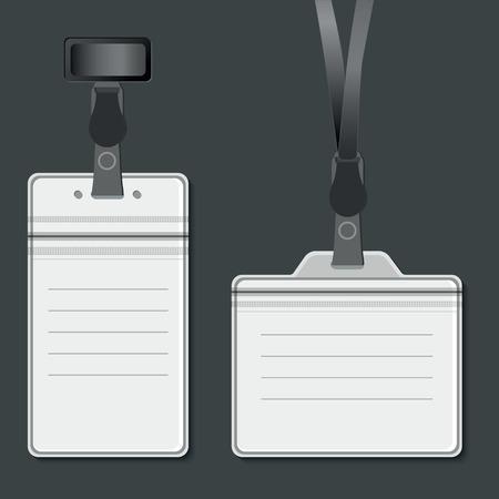 lanyard: La cuerda de seguridad, etiquetas de nombre titular retractores modelo de tarjetas finales. Vector EPS10 Vectores