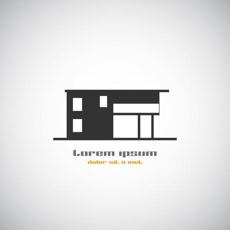 casa logo: Costruzione astratta silhouette. Immobiliare casa logo modello di progettazione icona. Moderna grafica concetto di elemento stile aziendale. Art illustrazione vettoriale di casa. Stilizzato emblema contemporaneo. EPS 10