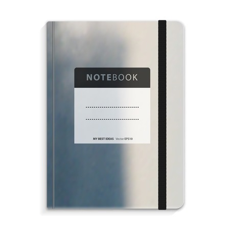 moleskine: Color copybook with elastic band bookmark. Vector illustration. Illustration