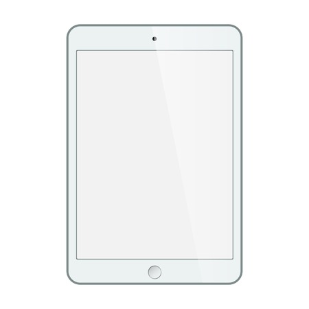 Realistic black tablet with blank screen isolated on white. vector Vectores
