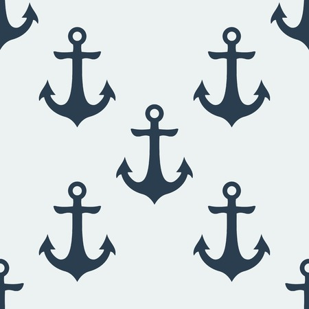 Nautical blue metal anchor illustration isolated on white background. Vector seamless retro pattern with anchors silhouette. Can be used for wallpaper, pattern fills, web page element, tattoo, fabric Illustration