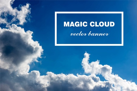 clean environment: Vector abstract concept white cloud on blue sky background illustration. Realistic photographic colourful cloudscape. Magic cloudy clean environment atmosphere. Your creative conceptual presentation