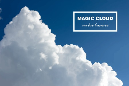 Vector abstract cloud. Realistic photographic colourful cloudscape. White cloud in sky isolated on blue. Banner paints. Holi Liquid smoke. Background for banner, card, poster, identity, web design.