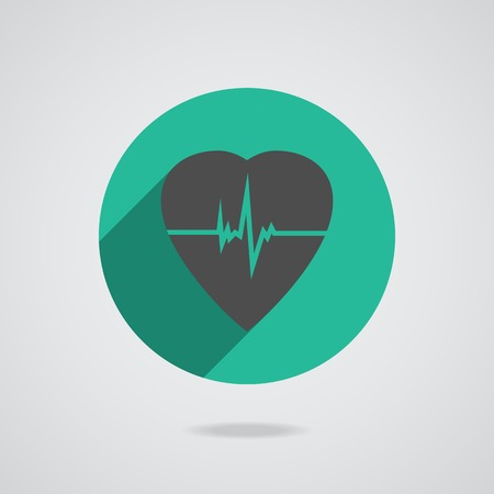 cardioverter: Defibrillator gray heart icon isolated on teal background.