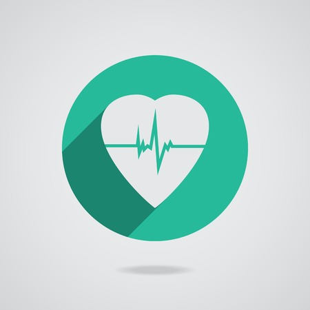 Defibrillator white heart icon isolated on teal background.