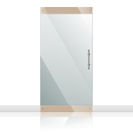 glass door: Vector transparent glass door in steel frame isolated on white wall. Architectural interior symbol.