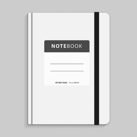 elastic band: Realistic white copybook with elastic band bookmark. Diary author for office information. Concept design gray planner for college. Closed textbook.