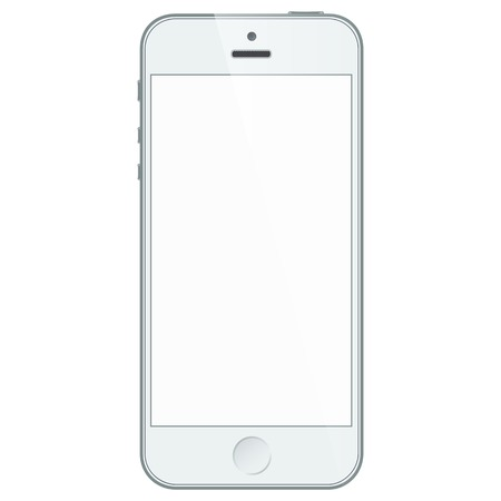 Realistic white mobile phone with blank screen isolated on white.  Ilustração