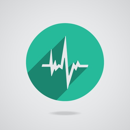 Pulse heart rate white icon in flat style with long shadow. Green button on white background.