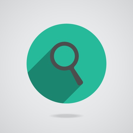 Search Icon. Magnifying Glass. Vector illustration with long shadow on a gray background