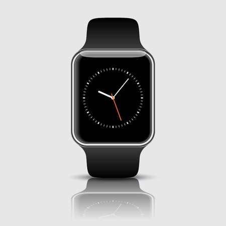 Smart watch isolated with icons on white background. Vector illustration. EPS 10