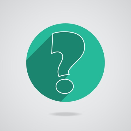 White question mark icon on green button. Circle isolated on background.