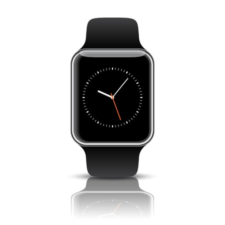 Silver smart watch isolated with icons on white background. Multimedia concept accessory Vector illustration.