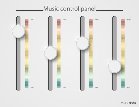 minimální: Realistické ovládací panel kov sušička prádla. Hudba audio hlasitosti tlačítko ovladač minimum maximum úroveň. Otočte přepínač interface stereo tuner na bílém pozadí.