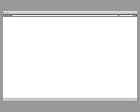 finestra: Modello aperto. Sito web Grigio barra di visualizzazione isolato. Pulsante di navigazione in avanti, indietro, a casa, la ricerca, il menu. Concetto di business commerce. Interfaccia sfondo.