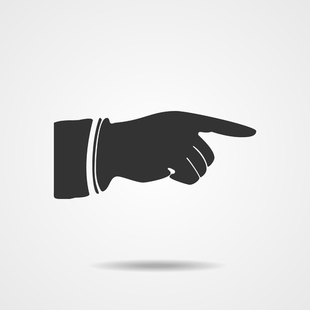 Right forefinger pointing to. Pointing hand finger.  Illustration