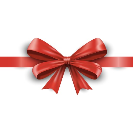 Realistic red ribbon bow with tails isolated on white background. Vector illustration EPS10 Vector