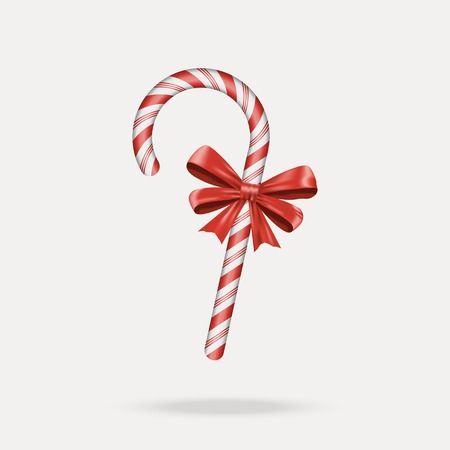 spearmint: Christmas Candy Cane with red bow isolated on white background. Happy holidays and merry celebrations. Vector illustration EPS10 Illustration