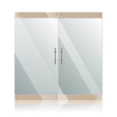 白い壁に分離された鉄骨の鏡像とベクトル透明ガラスの扉。建築インテリアのシンボル。 EPS 10