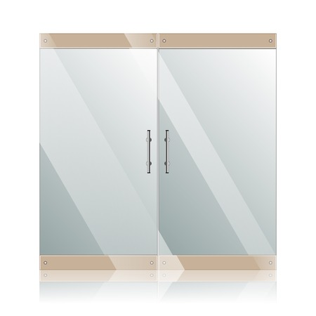 Vector transparent glass doors with mirror image in steel frame isolated on white wall. Architectural interior symbol.  EPS 10 Vector