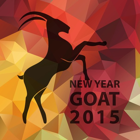 Chinese New Year 2015, goat silhouette on golden red geometric pattern. Vector illustration EPS10 Ilustração