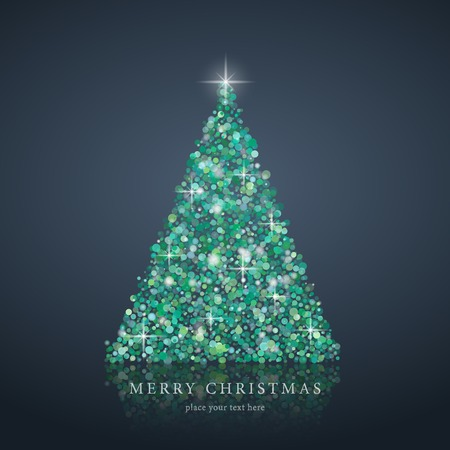 Stylized green Christmas tree silhouette from art circle vector background. EPS10 Vector