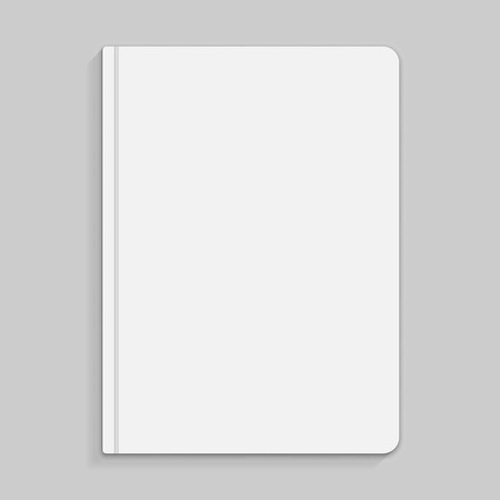 Realistic white copybook with elastic band bookmark. Diary author for office information. Concept design gray planner for college. Closed textbook. Abstract illustration on gray background. Vector