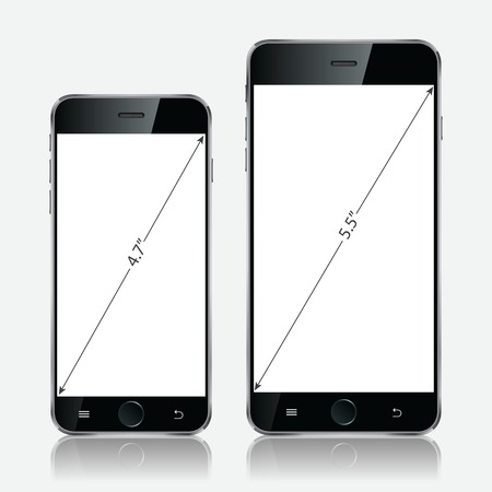 Realistic black mobiles phones with blank screen isolated on white background. Modern concept smartphone devices with digital display. Vector illustration EPS 10 Vector