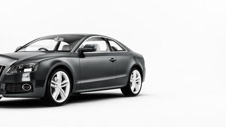 Neue CG 3D-Darstellung von generischen Luxus grau Detail Sportwagen-Illustration isoliert auf weißem Hintergrund. Standard-Bild - 34391913