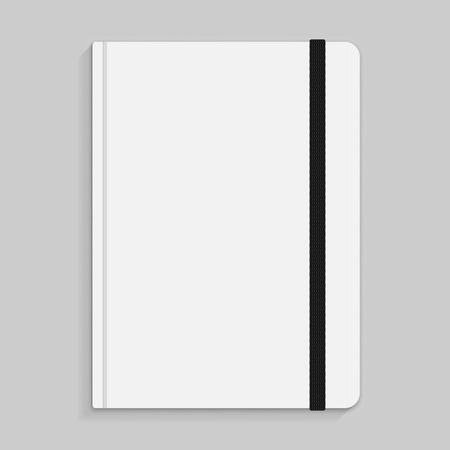 elastic band: Realistic white copybook with elastic band bookmark.