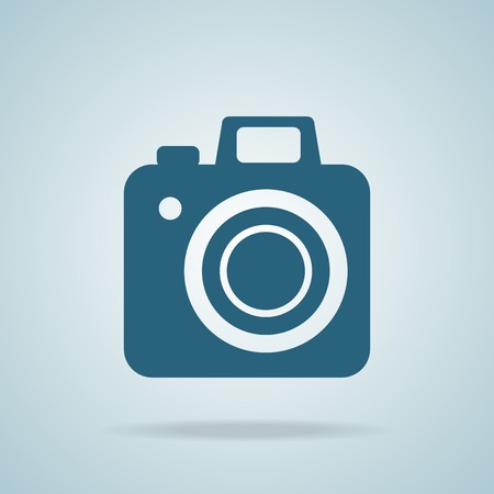 Hipster blue camera icon element for web design.  photo