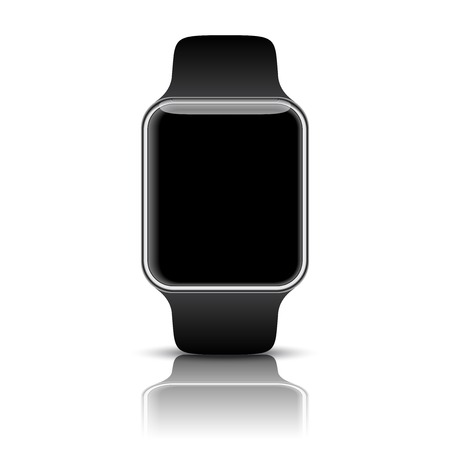 Silver smart watch isolated with icons on white background. photo