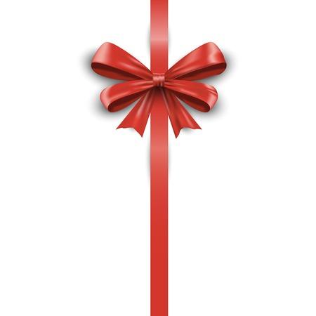 Shiny red satin ribbon isolated on white background. Vector illustration EPS10