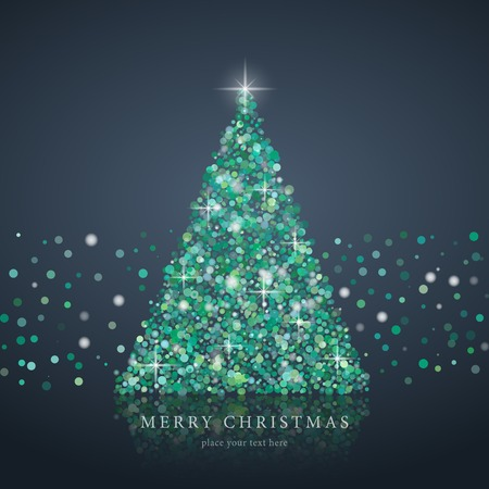 Stylized green Christmas tree silhouette from art circle vector background. EPS10